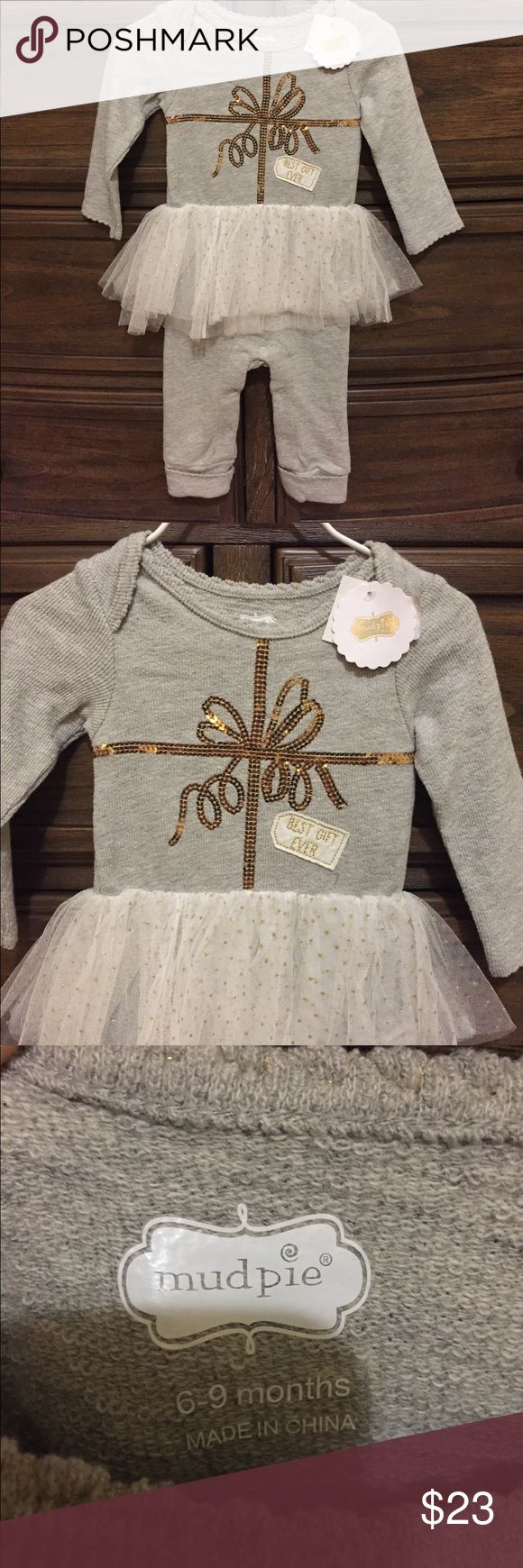 """MUD PIE OUTFIT 🎀 New With Tags 🎀 Mud Pie """"Best Gift Ever"""" 6-9 months  Smoke and Pet Free 🏡 Fast Shipping  Bundle and Save 💰 Mud Pie One Pieces Bodysuits"""