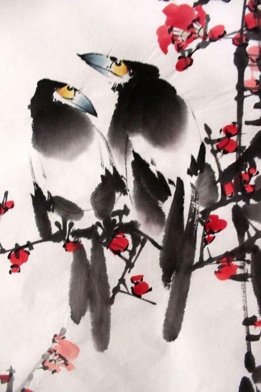 Original Asian Art Chinese Famous Watercolor Painting Plum Blossom Happy Birds | eBay
