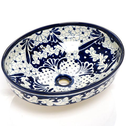Mexican Bianca Oval Vessel Hand Painted Bathroom Basin