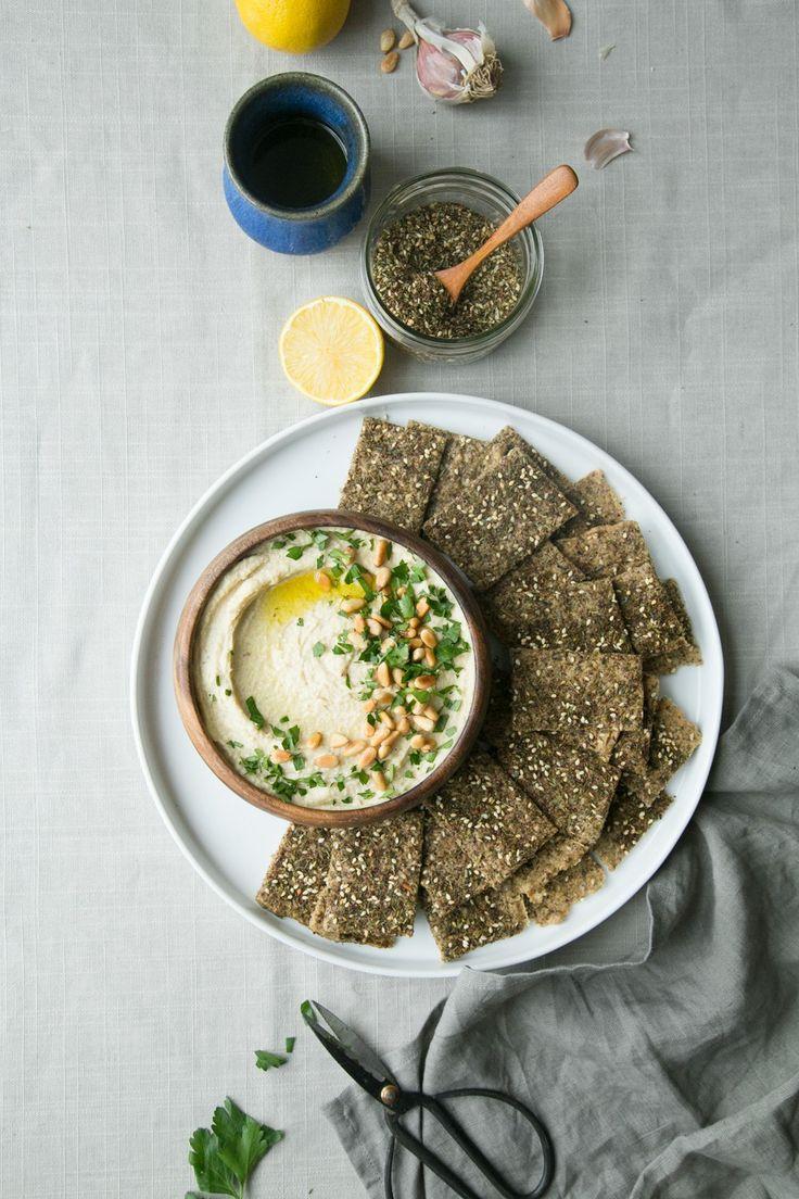 Jerusalem Artichoke Hummus + Za'atar Crackers (Gluten-Free) by The Green Life