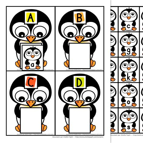 Free So stinkin' cute! Color and Line Art versions 9 pages, 4 letters per page This game is about matching capital letters to lower case letters. Children have to find the baby penguin that holds the same letter as the mother.
