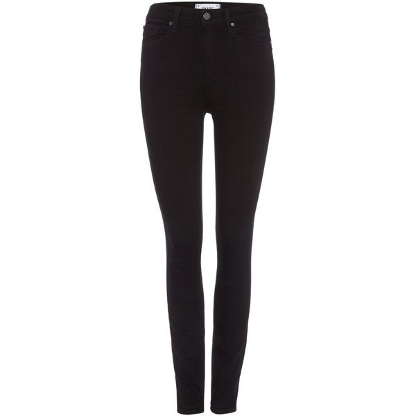 Paige Margot high rise skinny jean in black shadow ($305) ❤ liked on Polyvore featuring jeans, pants, bottoms, black, women, stretch jeans, skinny jeans, high-waisted jeans, black stretch jeans and black skinny jeans