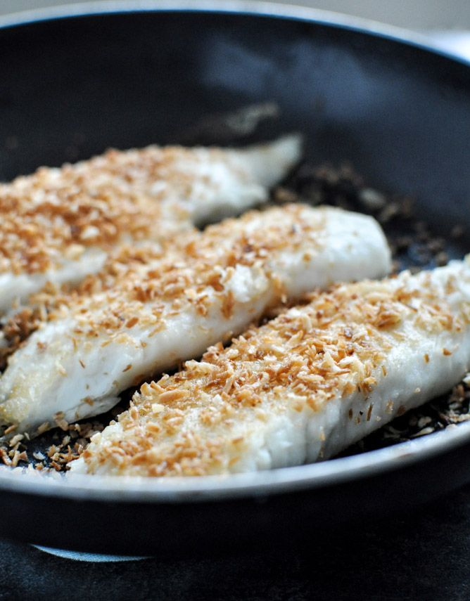 Toasted Coconut Tilapia via How Sweet It Is
