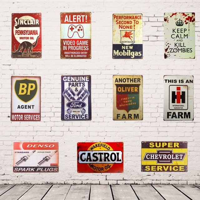BP metal tin sign vintage cafe pub motorcycle retro plaque garage kitchen
