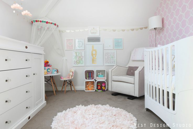 We love how this awkward wall with the vent was transformed with a simple gallery wall! #nurseryNests Design, Girls Bedrooms, Girl Nurseries, Kids Room, Girly Nurseries, White Bedrooms, Baby Girls, Girls Nurseries, Design Studios