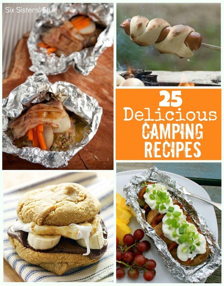 25 Delicious Camping Recipes from sixsistersstuff.com.  From dinner to dessert, there is something all your campers will love! #camping #recipes