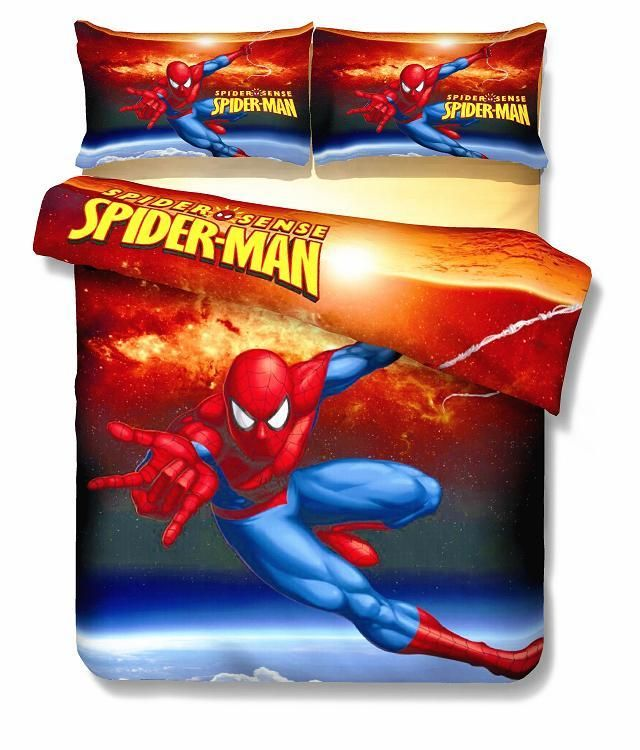 spiderman Eiffel Tower bedding sets Boy's Kids bedroom decor single twin size bed sheets quilt duvet covers 3pcs no filler red #Affiliate