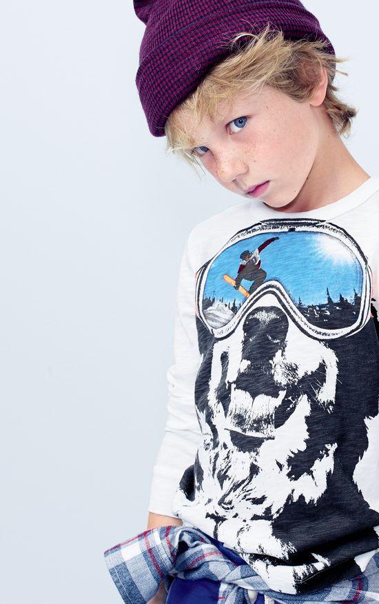 NOV '14 Style Guide: J.Crew boys ski dog tee and merino beanie.
