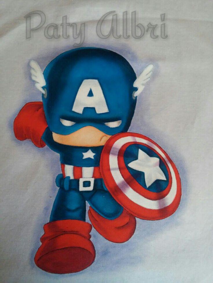 Pintura textil capitan america  paty albri
