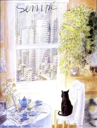 Sempe - New York scene with cat - in another life this would be my place.