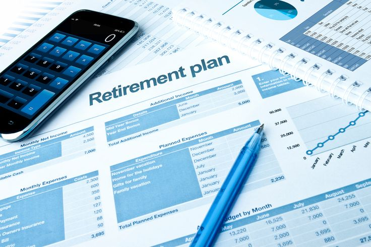 Retirement plan with calculator and pie charts.