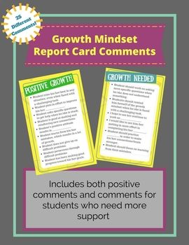 Want to encourage growth mindset in your students AND their parents? Make sure to use phrases that promote growth mindset in your report card comments! If you get stuck on writing comments on your report cards, these phrases can be very helpful!