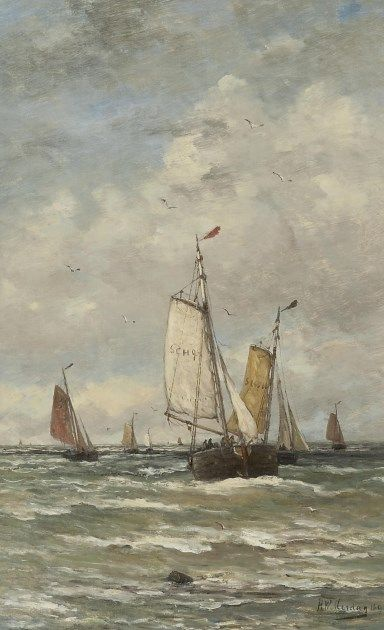Hendrik Willem Mesdag (Groningen 1831-1915 Den Haag) Fishing boats at sea - Dutch Art Gallery Simonis and Buunk Ede, Netherlands.