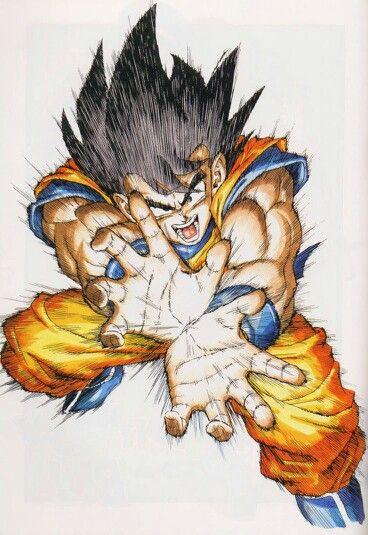 Una de mis imágenes favoritas de Son Goku, lanzando el famosísimo Kamehameha.