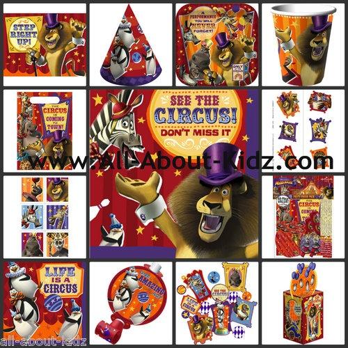 MADAGASCAR 3 Circus Birthday PARTY SUPPLIES