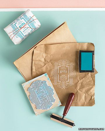 Rewrap your favorite foods in paper decorated with custom stamps