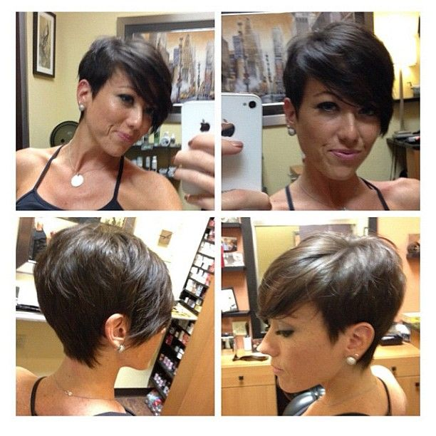 Love this asymmetrical short haircut!