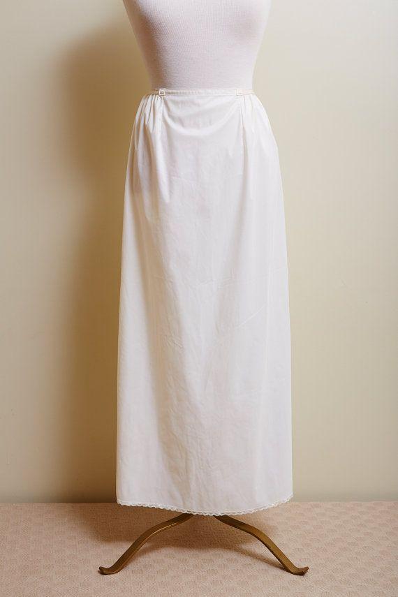 1950s Vassarette Maxi White Slip with Lace Trim Lingerie Large