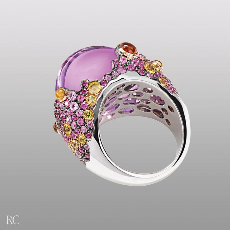 Vulcano ring. White gold ring with amethysts, pink and yellow sapphires - Roberto Coin