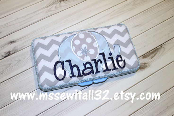 Gray Chevron with Elephant Applique Personalized Diaper Wipes Case by MsSewItAll32 on Etsy https://www.etsy.com/listing/189923781/gray-chevron-with-elephant-applique