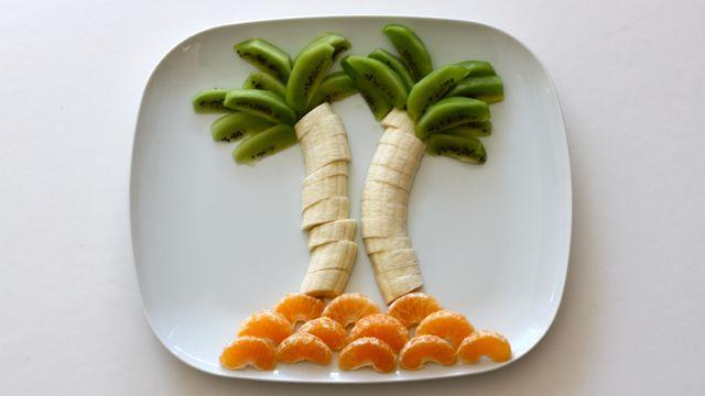 Making food fun for Tu B'Shevat: Banana palm trees