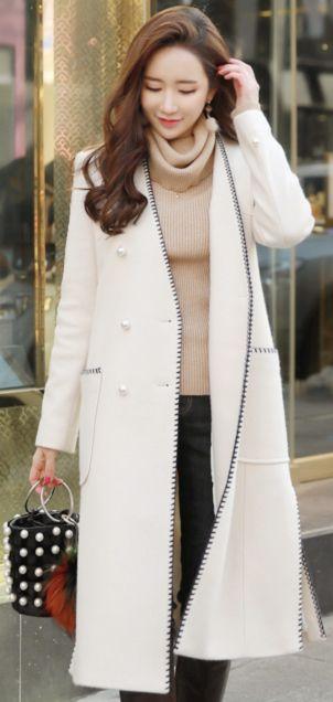 StyleOnme_Stitch Detail Double-Breasted Pearl Button Wool Blend Coat #ivory #elegant #wool #coat #koreanfashion #kstyle #kfashion #wintertrend
