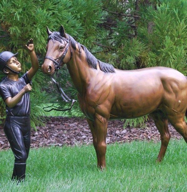Horse and Girl Outdoor Bronze Sculpture | Statue