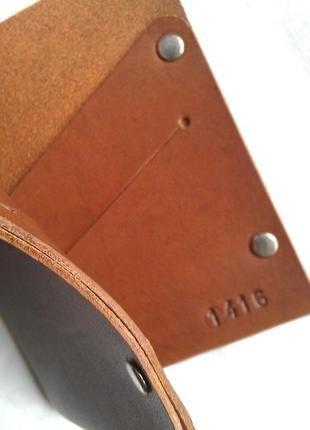 Купить мужской кошелек портмоне из натуральной кожи коричневый тонкий ручная работа.