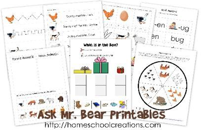 Ask Mr. Bear book go-along printables