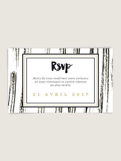 Carte réponse inviation mariage original et design Eléonore noir et or - www.dioton.fr -