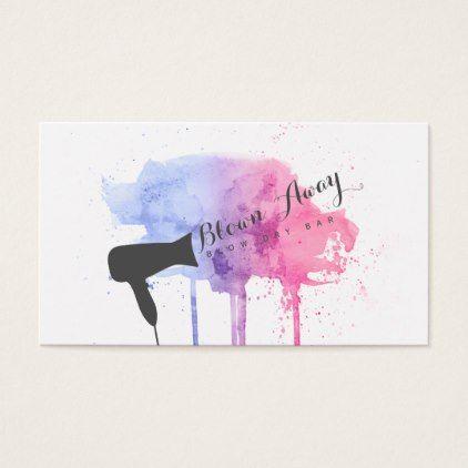 hairstylist grunge pink chic modern blow dry bar business card - modern style idea design custom idea