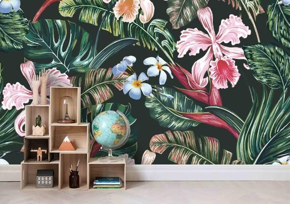 3d Watercolor Green Pink Tropical Leaves Wallpaper Mural Peel Etsy In 2021 Floral Wall Mural Wallpaper Wall Murals