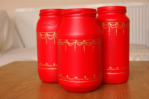 Set of 3 Red and Gold Christmas Upcycled jars...set the Christmas mood.  Check out http://www.wasteconnectionsmemphis.com for more great upcycling ideas!