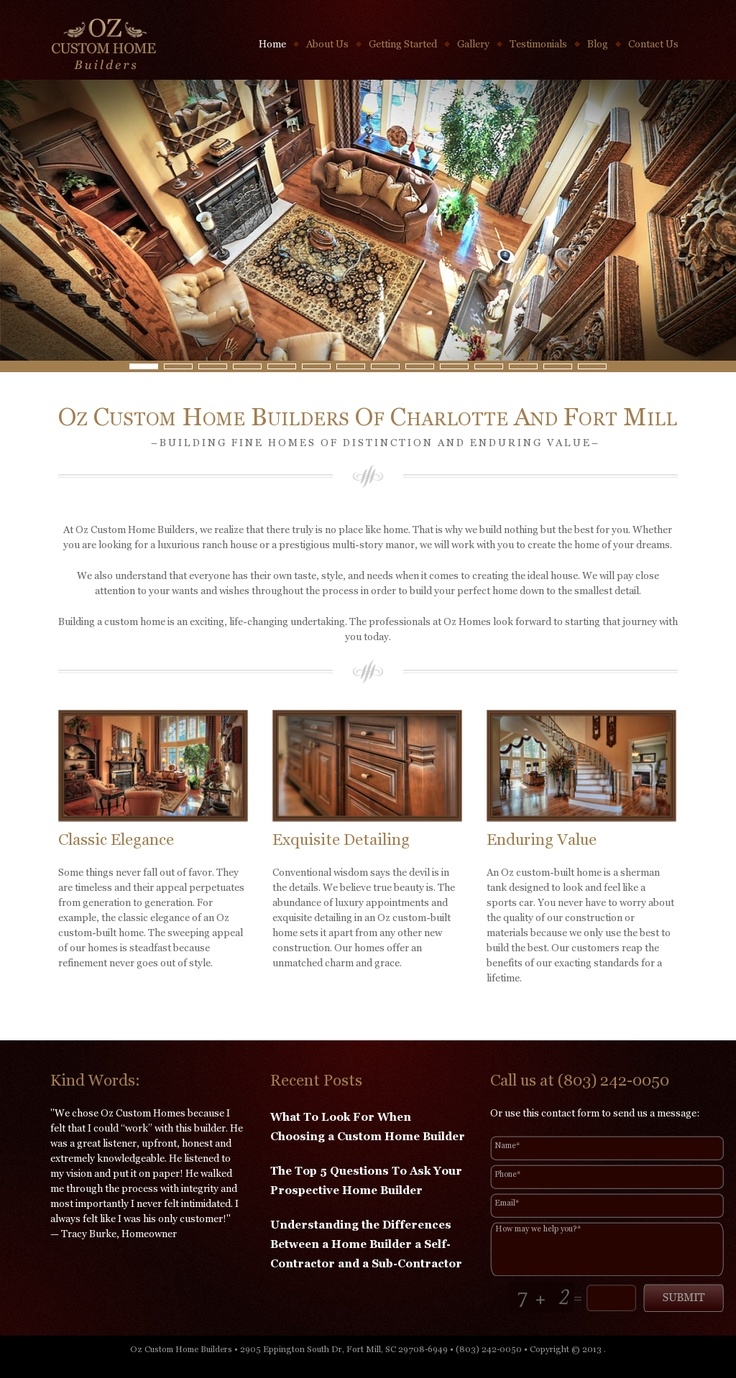 Oz Custom Homebuilders | Website Design