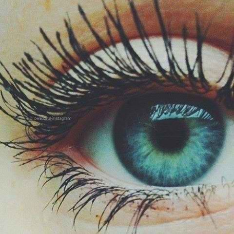 Love blue green eyes with mascara