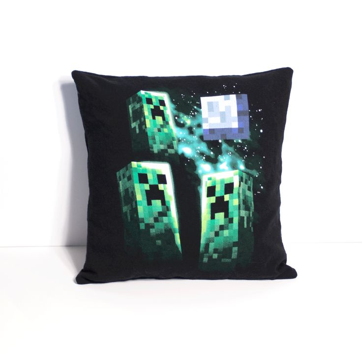 "One of a kind Minecraft pillow featuring three Creepers howling at the moon. - As soft as your favorite tee shirt - 12"" x 12"" pillow - Envelope closure in the back for easy washing and care - Made in"