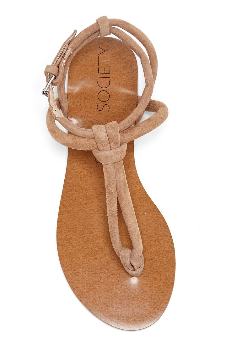 T-strap flat sandals in light camel suede