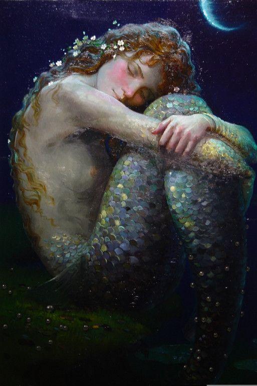 Catherine La Rose: ✿'Odora anche di me questo tatuaggio onirico di cielo che ormeggia nel cuore e nelle pagine coralline dei mari...painting by Victor NIZOVTSEV ~ Mermaids ✿