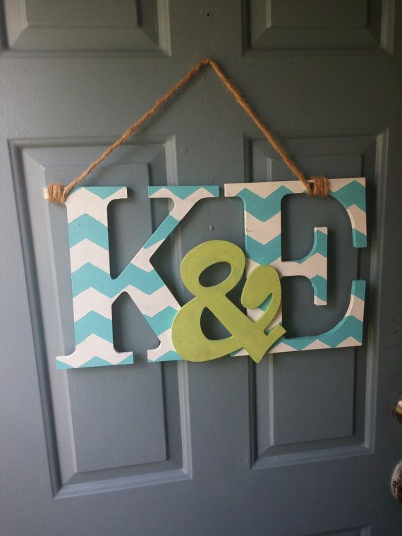 Handpainted Wooden Couples Initials Wall Or Door By