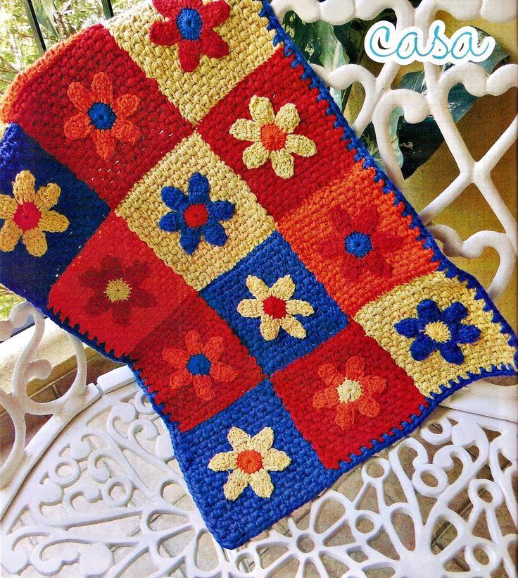 tapete square super colorido floral em croche com receita