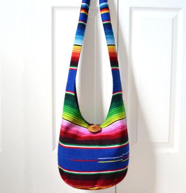 Hobo Bag, Sling Bag, Serape Blanket, Southwestern, Mexican Blanket, Striped, Colorful, Hippie Purse, Crossbody Bag