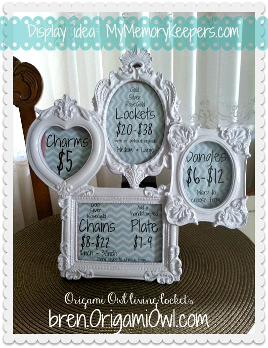 #OrigamiOwl display idea! #MyMemoryKeepers.com  #bren.origamiowl.com
