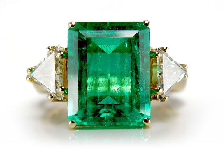 Damen Ring Smaragd 4,1 Karat + 2 Diamanten 750 Gelbgold Handarbeit BRORS 10632], in [Uhren & Schmuck, Echtschmuck, Ringe   eBay