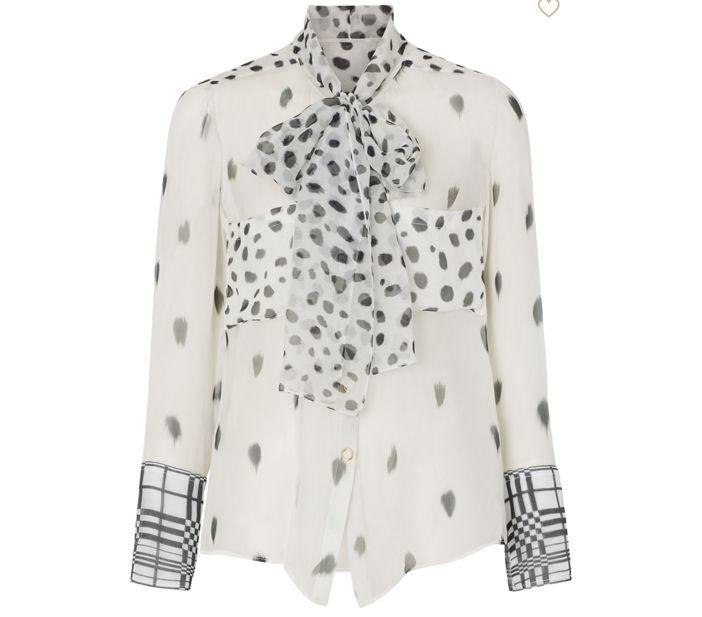 burberry dalmatian print tie neck blouse mode bekleidung
