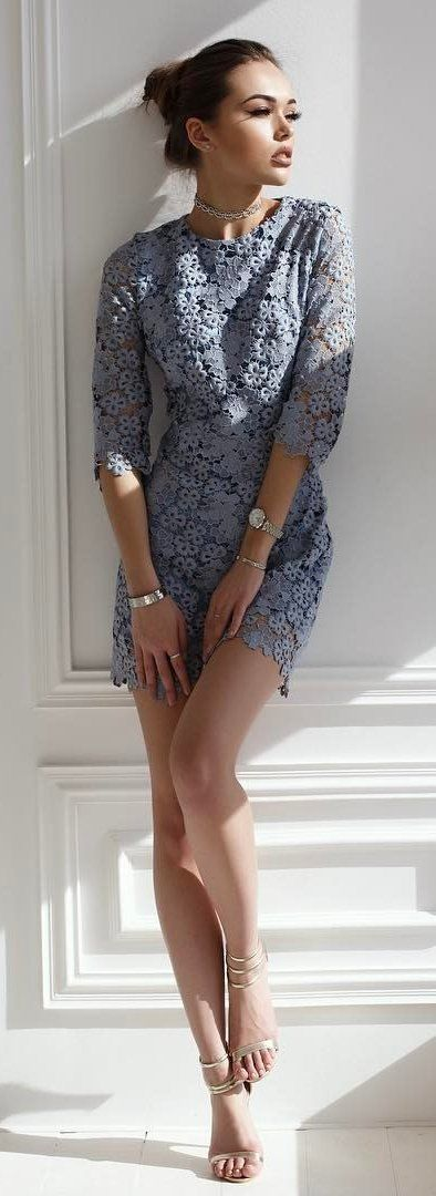 #summer #outfits  Grey лfloral Lace Dress