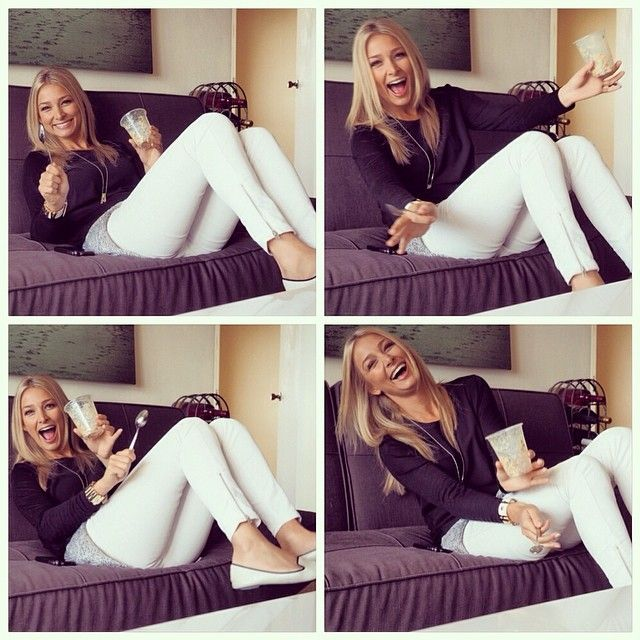 Anna Heinrich.. H&M grey top under Witchery black top, with white Witchery pants.. cute n' simple..