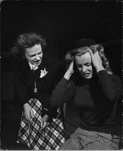 "Not published in LIFE. Marilyn Monroe, 22, takes lessons with acting coach, Natasha Lytess, Hollywood, 1949. The note that accompanied this picture when Eyerman's photos were sent to LIFE's editors read: ""in the depths of human agony. For some incomprehensible reason, it was thought that the Lytess hat would help Marilyn for this mood.""Marilyn Monroe, Early Photos, Natasha Lytess, Lytess Hats, Life Editor, Monroe 1949, Marilynmonroe, Ears Photos, Coaches Natasha"