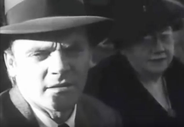 James Cagney with mom at baseball game, 1939  source:online video