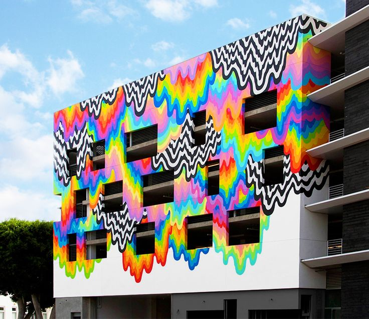 GoAltaCA | Jen Stark oozes drippy, technicolor mural across california building façade