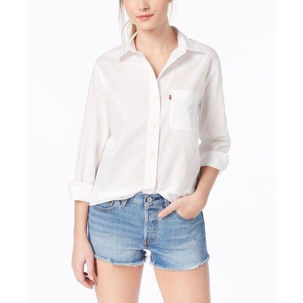 Levi S Ryan Cotton Boyfriend Shirt 55 Liked On Polyvore Featuring Tops Bright White Boyfriend Fit Shirt Boyfriend Top Boyfriend Shirt Tops Cotton Shirt